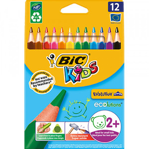 BIC EVOLUTION Triangle Colouring Pencils Full Length 12 Pack