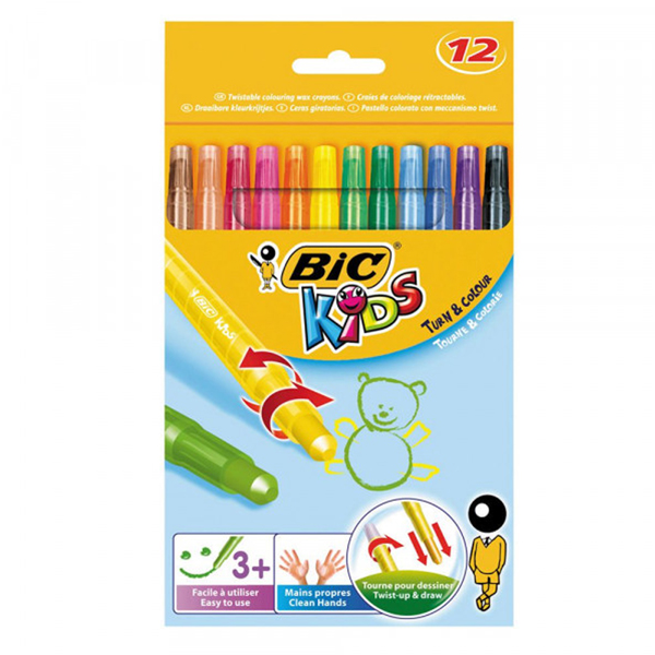 BIC Turn & Colour Retractable Wax Crayons 12 Pack