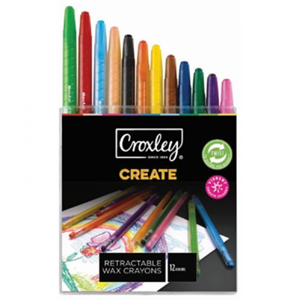 Croxley Create Retractable Wax Crayons 12 Pack