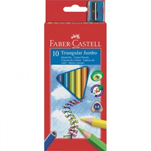 Faber-Castell Triangular Jumbo Colour Pencils Full Length 10 Pack