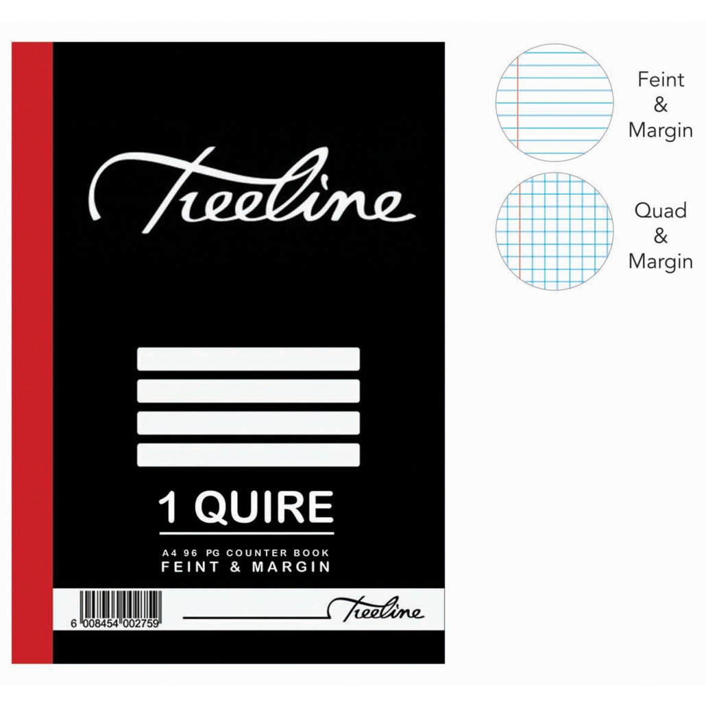 Treeline 1 Quire A4 Hard Cover Feint & Margin Counter Book