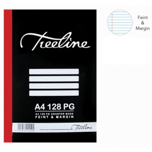 Treeline 128 Page A4 Hard Cover Feint & Margin Counter Book