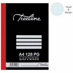 Treeline 128 Page A4 Hard Cover Quad & Margin Counter Book
