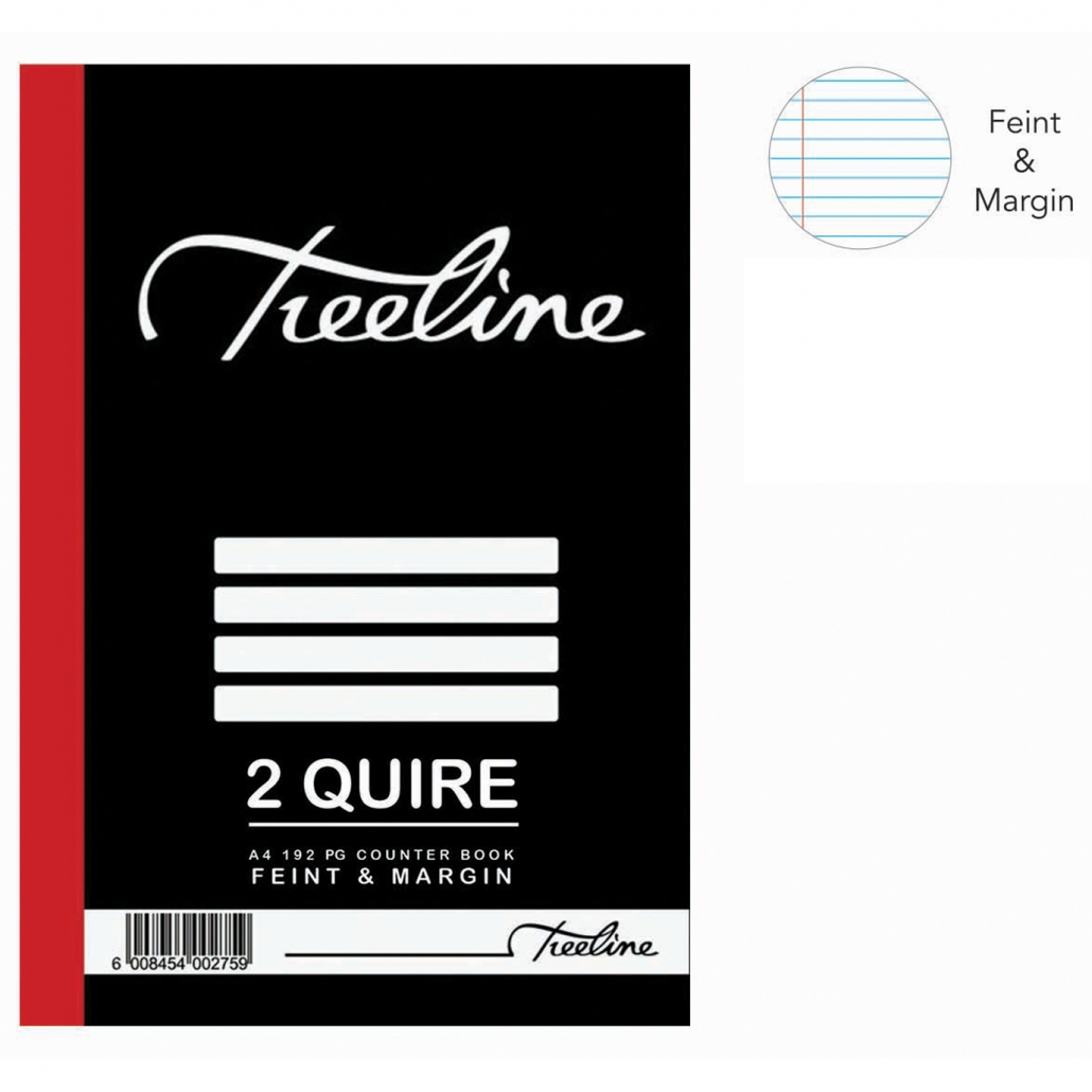 Treeline 2 Quire A4 Hard Cover Feint & Margin Counter Book