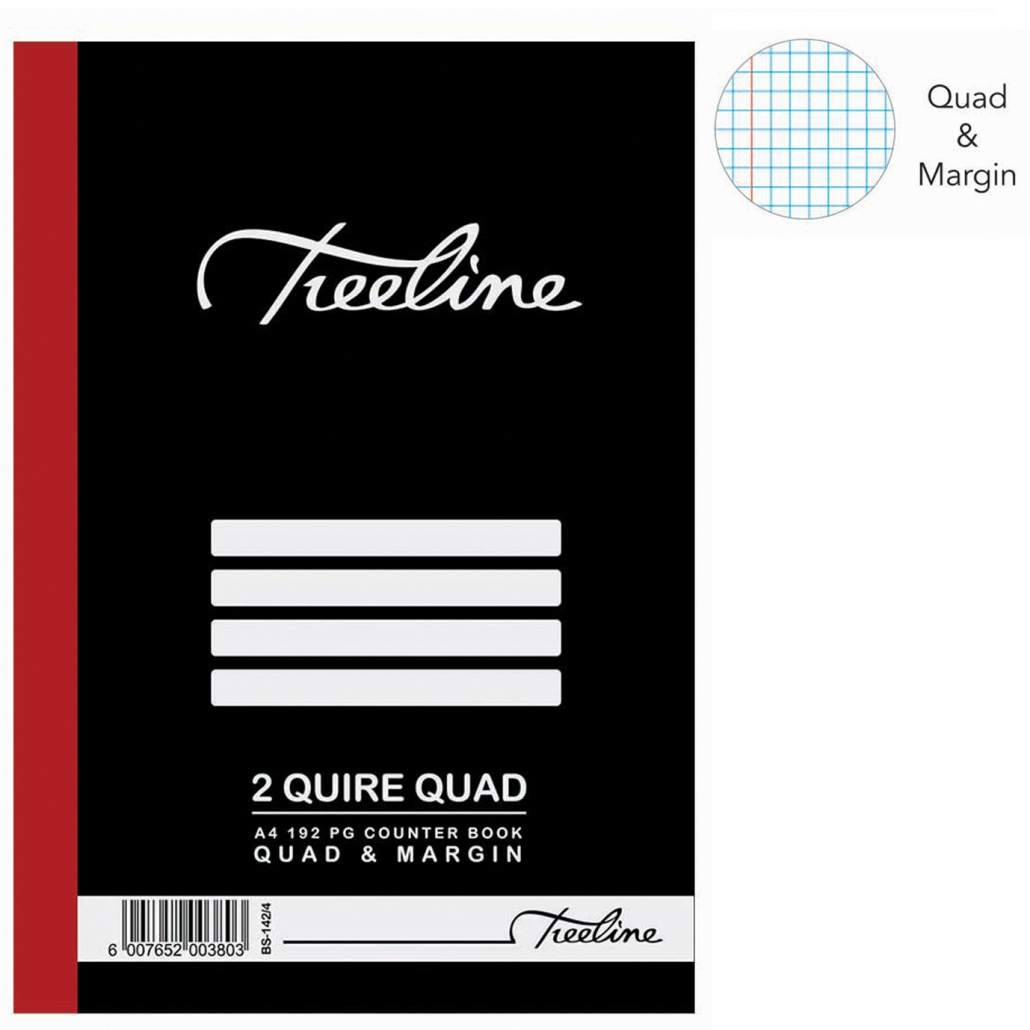 Treeline 2 Quire A4 Hard Cover Quad & Margin Counter Book