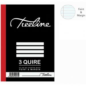 Treeline 3 Quire A4 Hard Cover Feint & Margin Counter Book