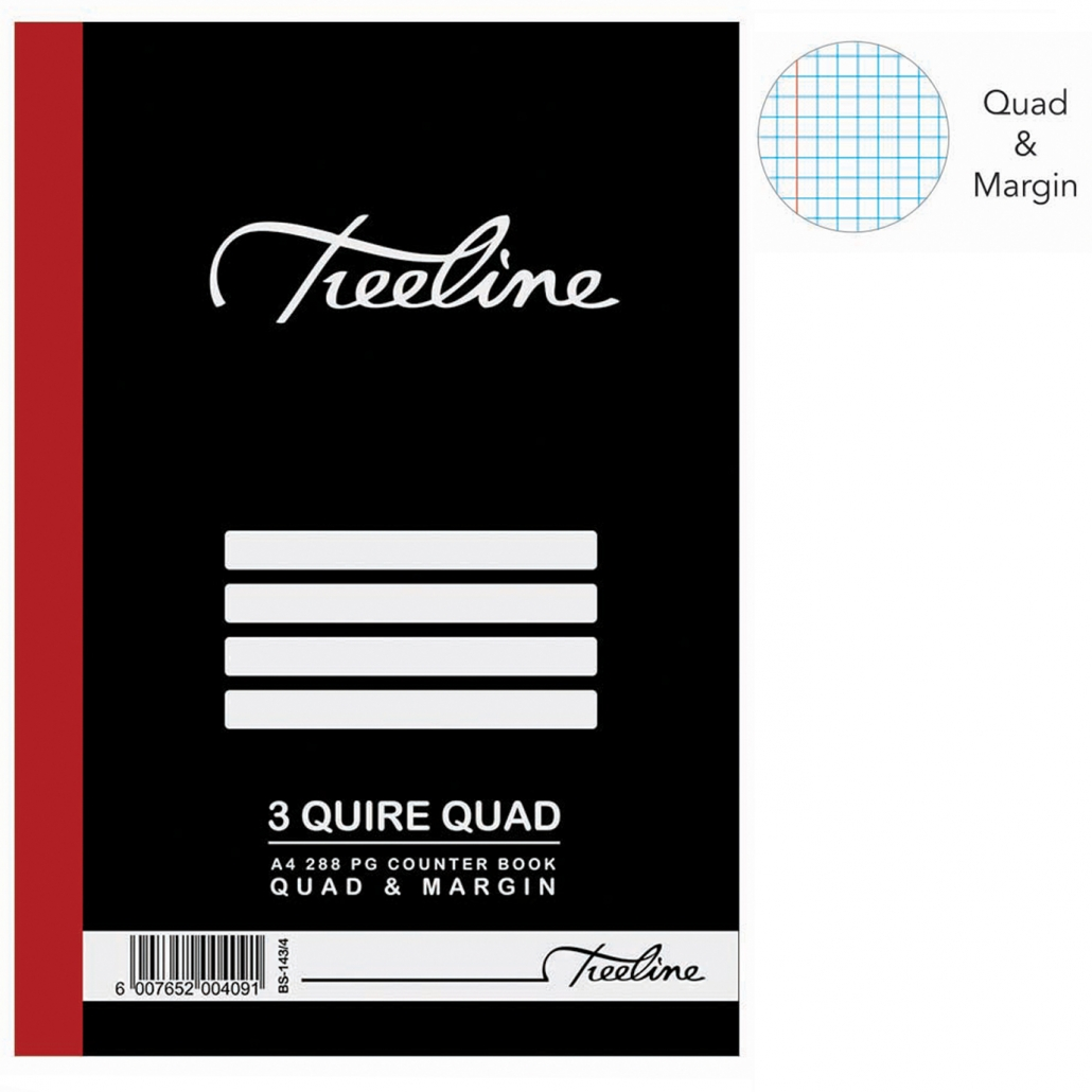 Treeline 3 Quire A4 Hard Cover Quad & Margin Counter Book