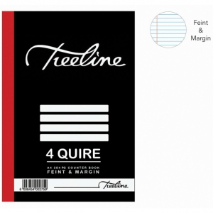 Treeline 4 Quire A4 Hard Cover Feint & Margin Counter Book